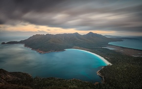clouds, Tasmania, forest, landscape, Wine Glass Bay, Australia