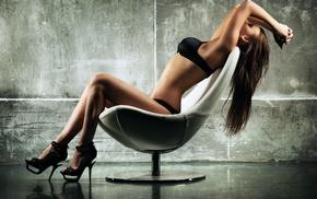 sitting, walls, chair, brunette, girl, high heels