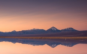 snowy peak, nature, Atacama Desert, reflection, lake, sunset
