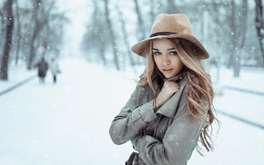 girl, blue eyes, snow, fur coats, blonde