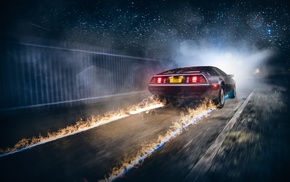 fire, race cars, Back to the Future, road