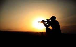 gun, soldier, sunset, men, rifles, silhouette