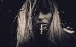blonde, glass, monochrome, girl, portrait, water drops