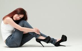 jeans, sitting, high heels, Asian, girl