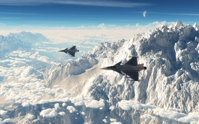 jet fighter, JAS, 39 Gripen, mountain, snow, winter