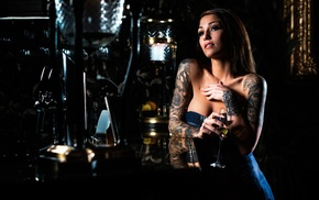 bar, model, drinking glass, girl