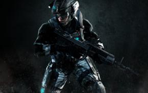 Halo, military, artwork, machine gun