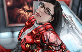 piercing, glasses, science fiction, pierced lip, girl with glasses