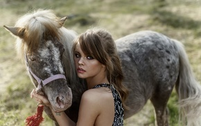dress, horse, girl outdoors, blue eyes, animals, Anastasia Scheglova