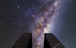 space, Milky Way, starry night, long exposure, observatory, landscape
