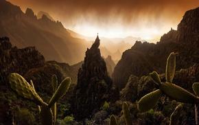 landscape, sunset, mist, Spain, nature, rock climbing