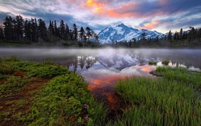 Washington state, lake, reflection, forest, sunrise, snowy peak