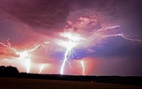 lightning, storm, nature