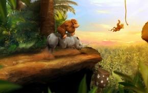 video games, digital art, Donkey Kong, monkeys, rhino