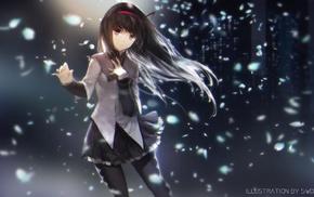 swd3e2, long hair, anime, flower petals, skirt, anime girls