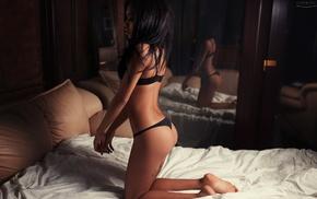kneeling, brunette, tattoo, black panties, black hair, tanned