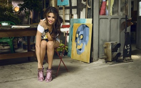 jean shorts, Selena Gomez, long hair, painting, brunette, shorts