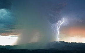 landscape, storm, nature, lightning