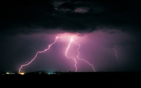 storm, landscape, lightning, nature
