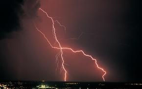 landscape, lightning, storm, nature