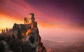 clouds, tower, trees, San Marino, house, sunset