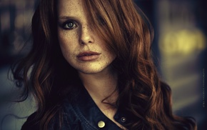 freckles, blue eyes, girl, face, redhead, smoky eyes