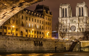Paris, old building, architecture, city, bridge, trees