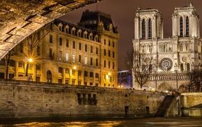 Paris, old building, architecture, city, bridge, trees