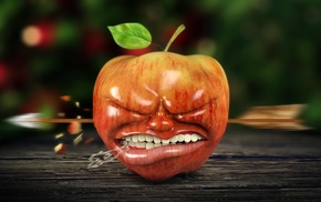 depth of field, 3D, CGI, teeth, apples, leaves