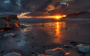 nature, cliff, sand, sunset, stones, waves