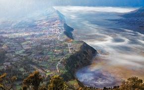 field, landscape, aerial view, hill, villages, nature