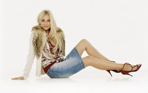 denim skirt, Diane Kruger, skirt, girl, blue eyes, high heels