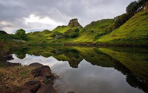 Scotland, UK, nature, reflection, hill, landscape