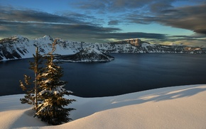 crater lake, lake, snow, nature, landscape