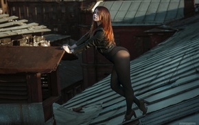 redhead, rooftops, ass, pantyhose, girl