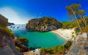 sea, Spain, trees, island, boat, sand