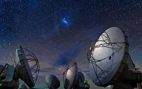 starry night, ALMA Observatory, technology, space, landscape, galaxy