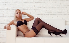 high heels, blonde, couch, pierced navel, lingerie, walls