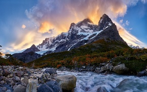 Chile, river, Torres del Paine, mountain, forest, snowy peak