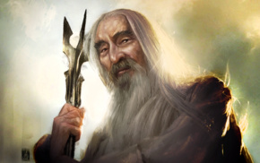 artwork, wizard, portrait, The Lord of the Rings, old people, Saruman