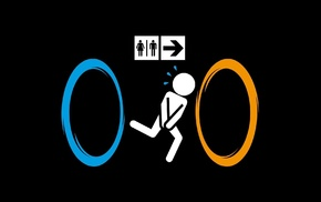 Portal, black background, Valve, minimalism, simple background, humor