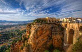 cliff, landscape, Spain, old building, city