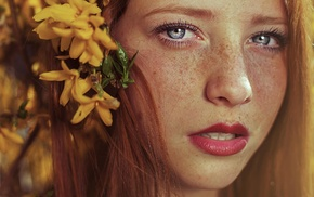 open mouth, portrait, long hair, freckles, looking at viewer, flower in hair