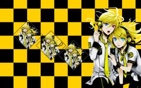 checkered, anime, Vocaloid, Kagamine Rin