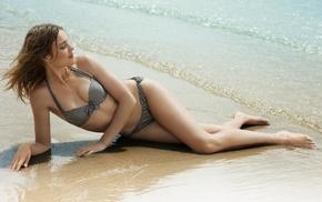 bra, girl, long hair, brunette, Natalia Vodianova, beach