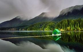 summer, floating, lake, landscape, reflection, water