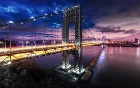 mist, technology, New York City, night, nature, lights