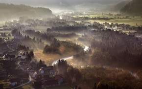 aerial view, morning, hill, mist, river, landscape