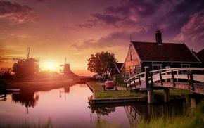 Zaanse Schans, house, landscape, clouds, nature, bridge