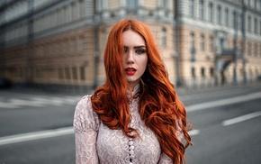 redhead, face, blue eyes, model, girl, wavy hair